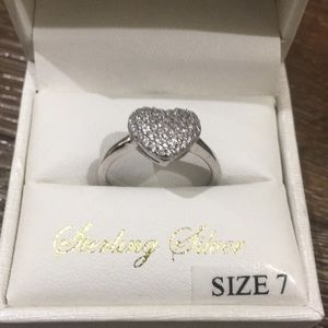 Diamante Sterling silver ring heart size 7 NWT